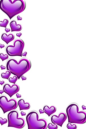 A purple heart background isolated on a white background with copy space, romantic background photo