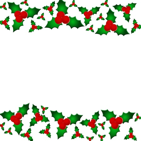 A holly berry border isolated on white with copy space, Christmas border Stock Photo - 10367102