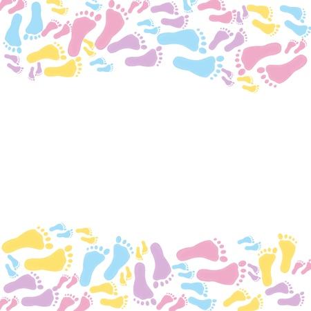 pie bebe: Un marco multicolor de mensaje o invitaci�n aislados en blanco
