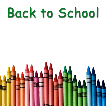 crayon: A crayon border isolated on white background with words back to school
