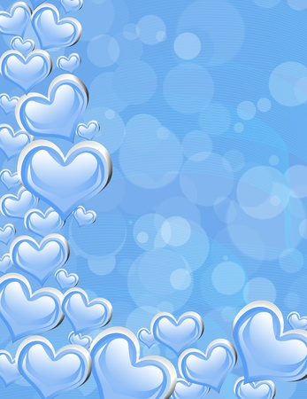 silver frame: A blue heart background with copy space, romantic background Stock Photo