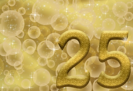 The number twenty-five 25 in gold with golden bubble background,  25th anniversary Stock fotó