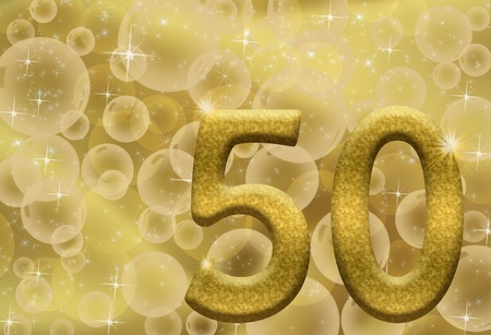 fifty: The number fifty 50 in gold with golden bubble background,  50th anniversary