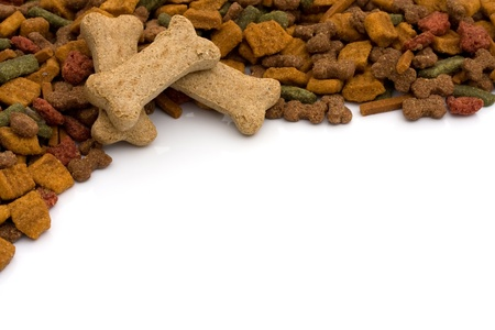 chew over: Dog food and dog bones isolated on white, dog food