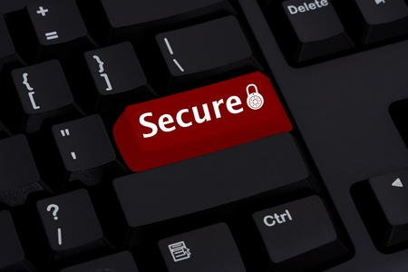 lock symbol: Computer keyboard key displaying symbol of a lock and word secure, Secure on-line transactions