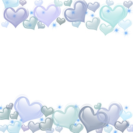 Blue hearts on a white background, romance background Stock Photo - 10476378