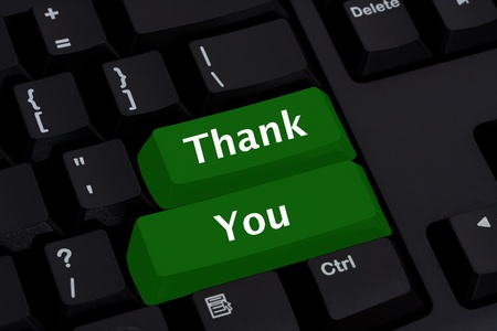 keyboard: Computer keyboard key displaying word thank you, Thank you for your business