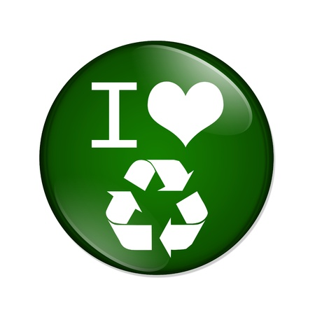 A green and white button with I heart recycle symbol isolated on a white background, I love recycling button photo