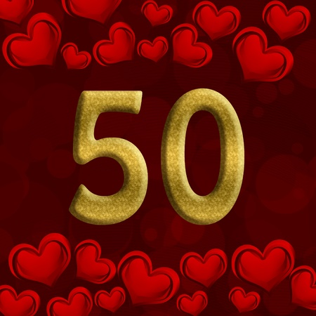 number 50: The number fifty 50 in gold with red hearts background,  50th anniversary