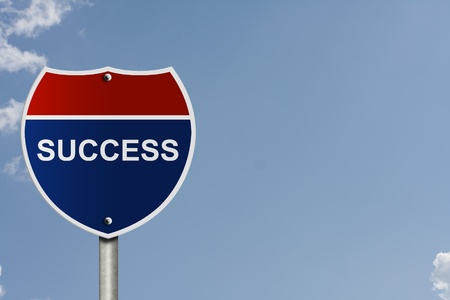 interstate: An American interstate road sign with sky background and copy space for your message, The road to success