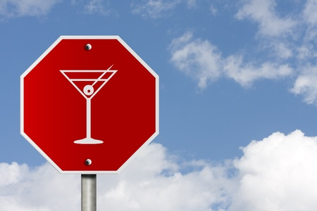 An American road stop sign with sky background and copy space for your message, Stop drinking and driving, Stock Photo - 10505448