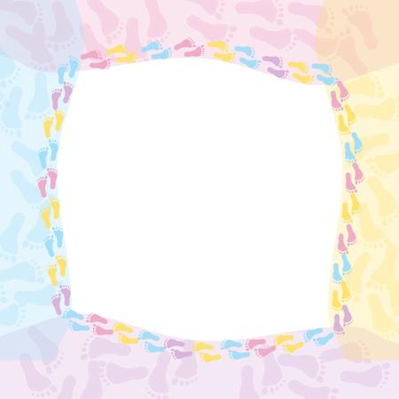 huellas pies: Un marco multicolor de mensaje o invitaci�n aislados en blanco