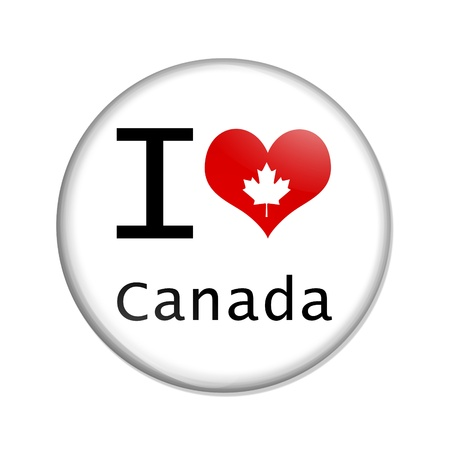 i love canada: A white button with I heart Canada isolated on a white background, I love Canada
