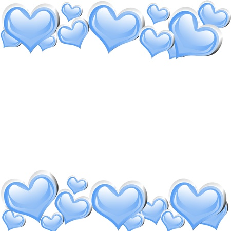silver frame: A blue heart background isolated on a white background with copy space, romantic background