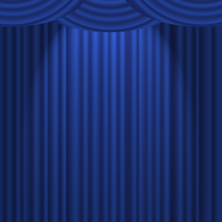 A blue textured curtain on a stage with a spotlight photo