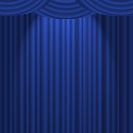 azul marino: Una cortina con textura azul en un escenario con un foco