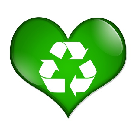 A green heart shaped button with recycle symbol isolated on a white background, Love Recycling button photo