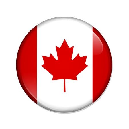 祝うカナダは白色の背景上に分離されてカナダの旗を持つボタン 写真素材