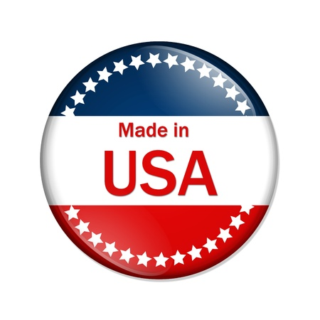 made in: A red, white and blue button with Made in USA isolated on a white background, Made in the USA button Stock Photo