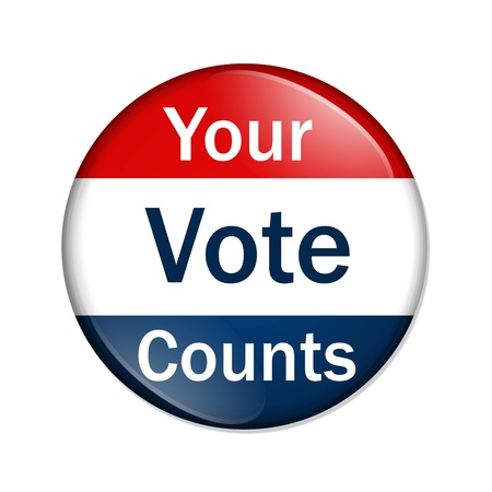 votes: A red and blue button with words your vote counts isolated on a white background, Your Vote Counts button