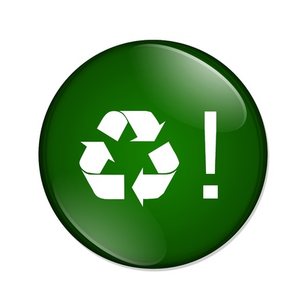 A green and white button with recycle symbol and explanation symbol isolated on a white background, Recycle button