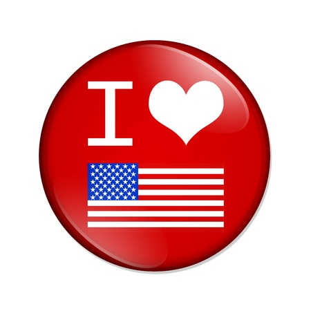 A red button with I heart USA isolated on a white background, I love USA photo