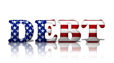 obligaciones: La deuda de palabra con los colores de la bandera estadounidense, americanos en deuda Foto de archivo
