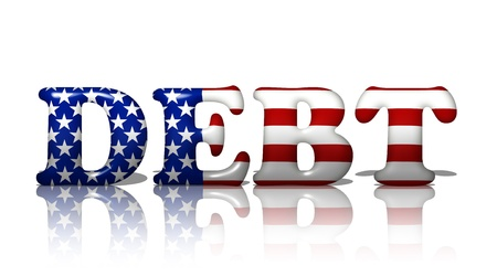 The word debt in the American flag colors, Americans in Debt Stock Photo