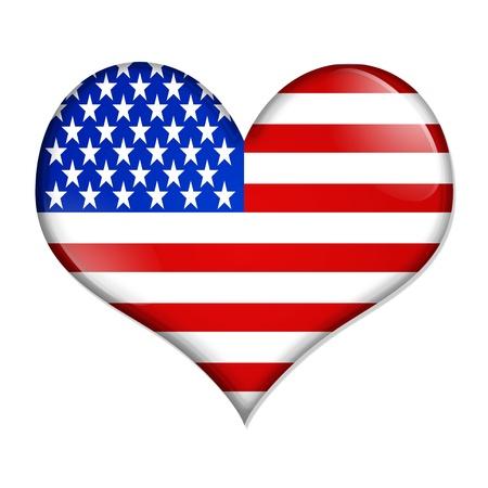 banderas america: Un bot�n en forma de coraz�n con la bandera americana aislado en un fondo blanco, me encanta EE.UU. Foto de archivo