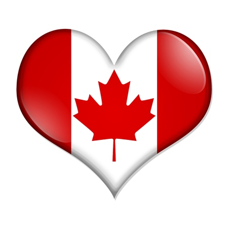 i love canada: A heart shaped button with the Canadian flag isolated on a white background, I love Canada