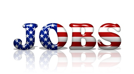 job advertisement: The word Jobs in the American flag colors, Jobs in America