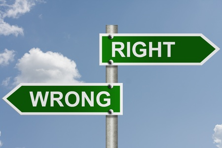 right way: An American road sign with sky background and copy space for your message, The way to right or wrong Stock Photo