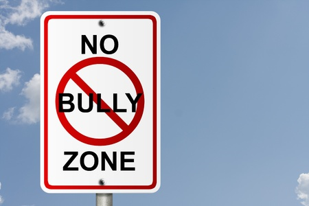 An American road sign with sky background and copy space for your message, No Bully Zone Stock Photo - 10727648