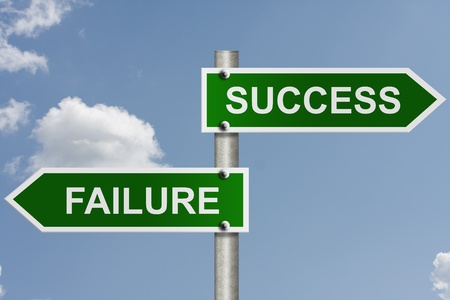 failure sign: An American road sign with sky background and copy space for your message, The way to success or failure