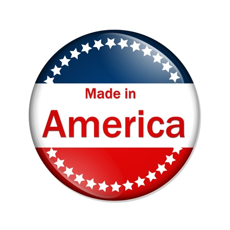 A red, white and blue button with Made in America isolated on a white background, Made in the America button