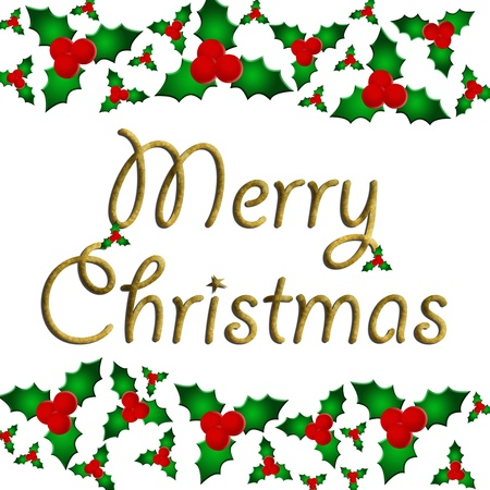 Een hulst bessen grens geïsoleerd op wit met Merry Christmas tekst, Merry Christmas