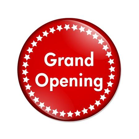 inaugural: Un bot�n rojo con la apertura de grandes palabras y las estrellas aisladas sobre un fondo blanco, bot�n de Gran Apertura