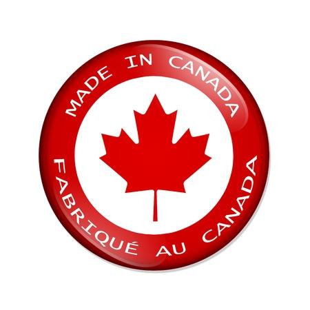 캐나다 단추에서 만든 흰색 배경에 고립 된 단풍 나무 잎으로 캐나다 제 단어와 함께 빨간 버튼,