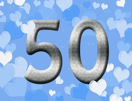 The number fifty 50 in silver with blue hearts background,  50th anniversary photo