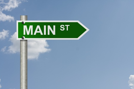 main street: An American road sign with sky background and copy space for your message, Main Street