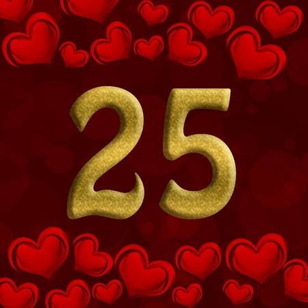 The number twenty-five 25 in gold with red hearts background,  25th anniversary