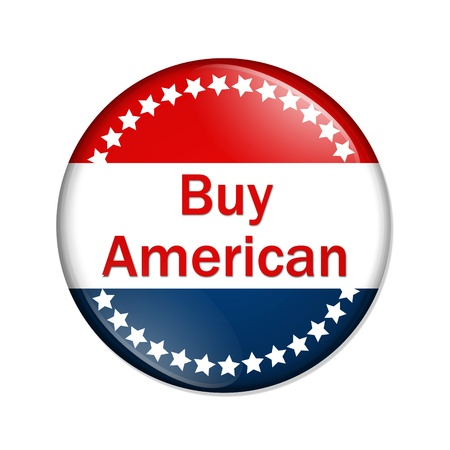 A red and blue button with word buy isolated on a white background, buy button