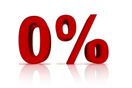 financing: A red number zero with percentage sign isolated over white, Zero Percent Financing Stock Photo