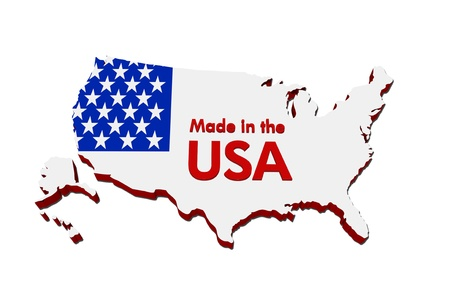 produced: A red, white and blue map of the USA with Made in America isolated on a white background, Made in the USA