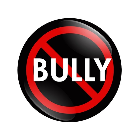 A black and red  button with word Bully isolated on a white background, No Bully button Stock Photo
