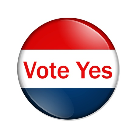 vote button: A red and blue button with words vote yes isolated on a white background, Vote Yes button