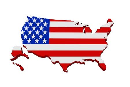 Een rode, witte en blauwe kaart van de VS met de Amerikaanse vlag op wit wordt geïsoleerd