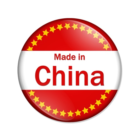 A red, white and yellow button with Made in USA isolated on a white background, Made in China button Stock Photo - 11065589