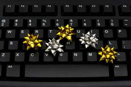Computer keyboard with small bows on the keyboard, Internet Shopping Stock fotó