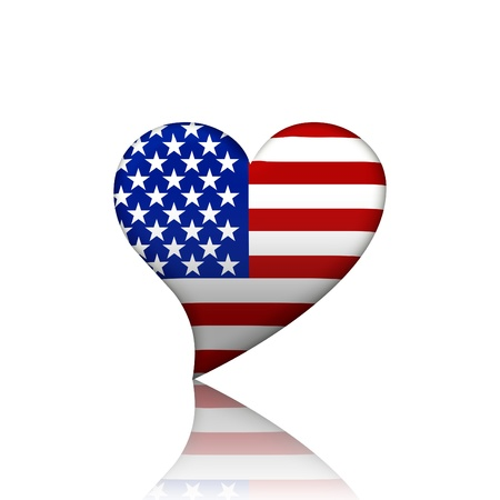 A heart shaped American flag isolated on a white background, I love USA photo